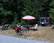 Pause auf dem Cowichan Valley Trail, Shawnigan Lake, BC